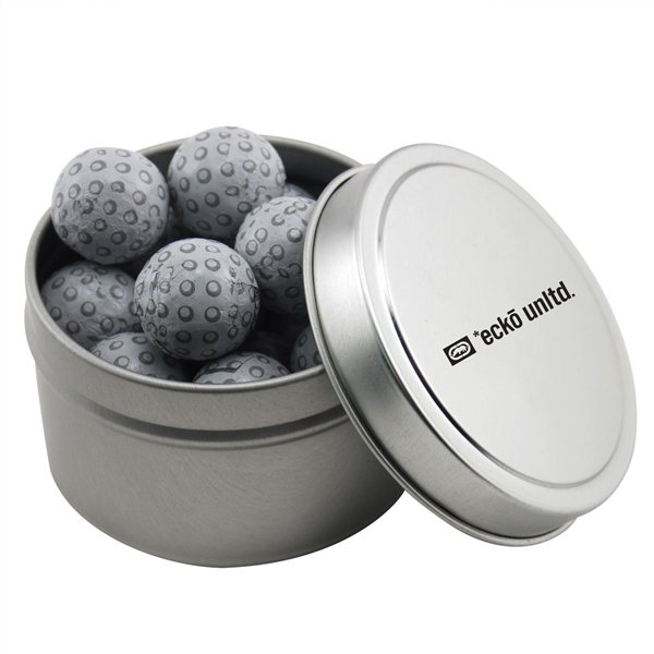 Promotional 2 3/4 Round Tin with Chocolate Golf Balls