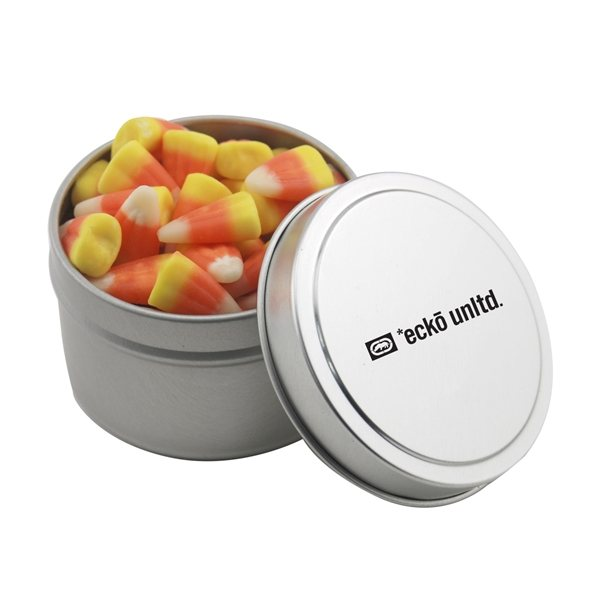 Promotional 2 3/4 Round Tin with Candy Corn