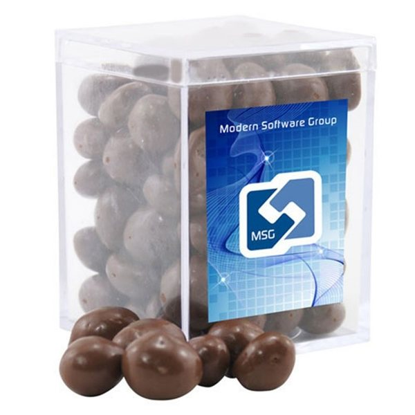 Promotional Small Rectangular Acrylic Box with Chocolate Covered Peanuts