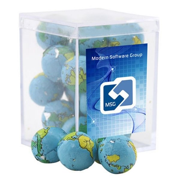 Promotional Small Rectangular Acrylic Box with Chocolate Globes Earth Balls