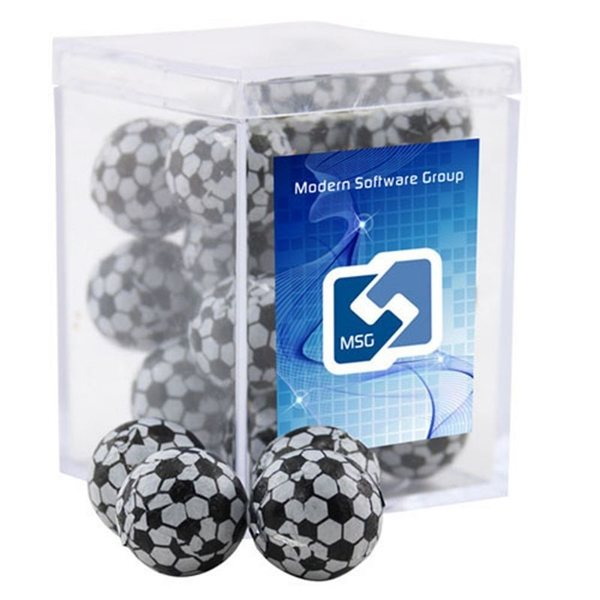 Promotional Small Rectangular Acrylic Box with Chocolate Soccer Balls