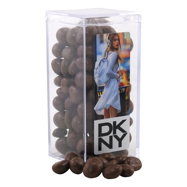 Promotional Large Rectangular Acrylic Box with Chocolate Covered Peanuts