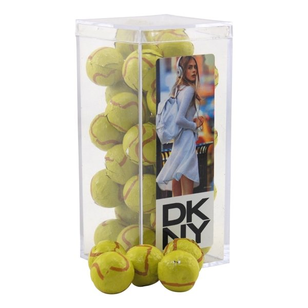 Promotional Large Rectangular Acrylic Box with Chocolate Tennis Balls
