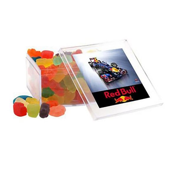Promotional Large Square Acrylic Case with Gummy Bears