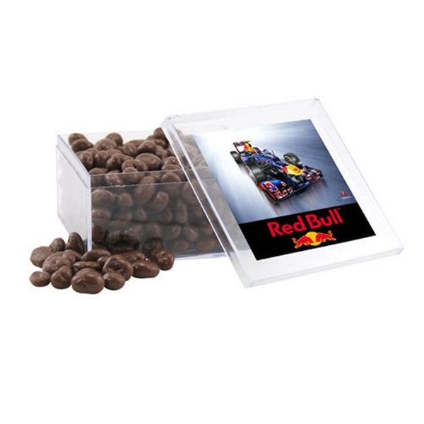 Promotional Large Square Acrylic Case with Chocolate Covered Raisins