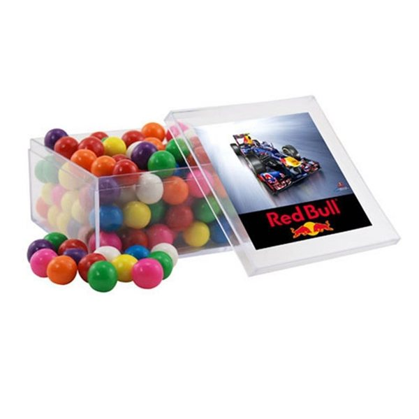Promotional Large Square Acrylic Case with Gumballs