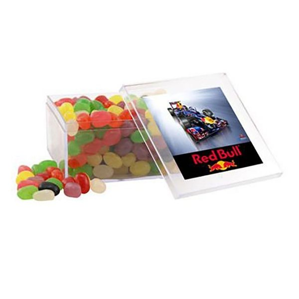 Promotional Large Square Acrylic Case with Jelly Beans