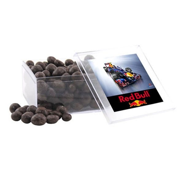 Promotional Large Square Acrylic Case with Chocolate Espresso Beans