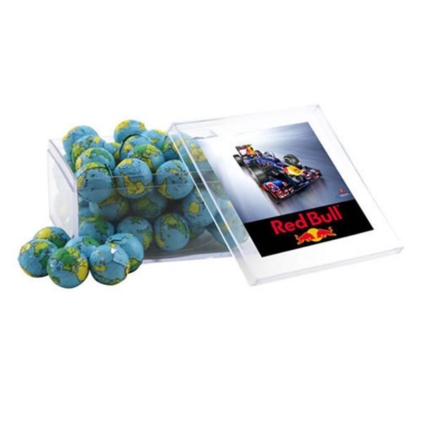 Promotional Large Square Acrylic Case with Chocolate Globes Earth Balls