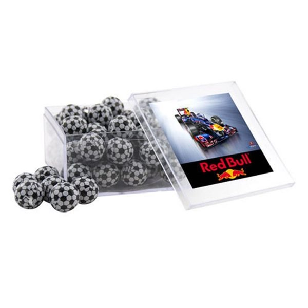 Promotional Large Square Acrylic Case with Chocolate Soccer Balls