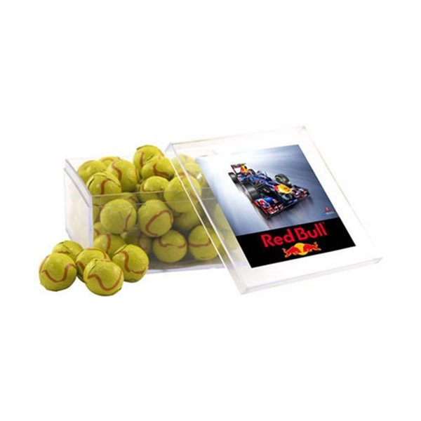 Promotional Large Square Acrylic Case with Chocolate Tennis Balls