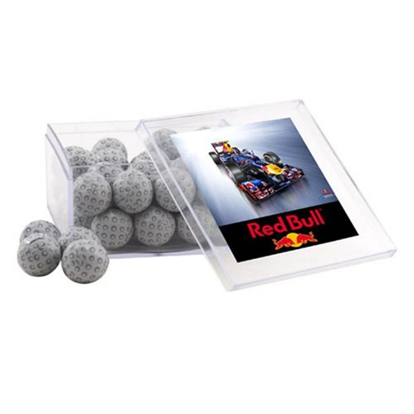 Promotional Large Square Acrylic Case with Chocolate Golf Balls