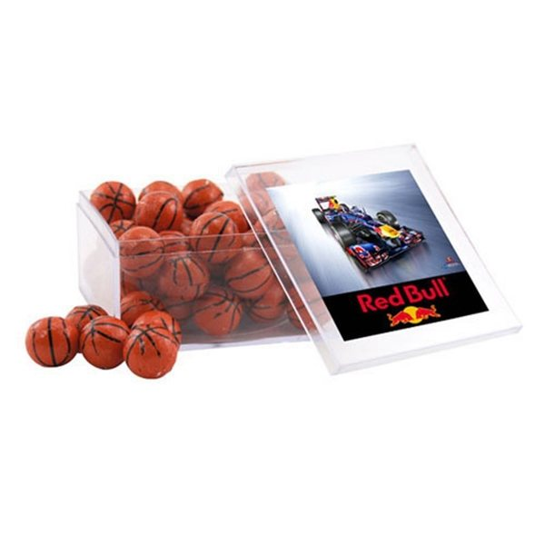 Promotional Large Square Acrylic Case with Chocolate Basketballs