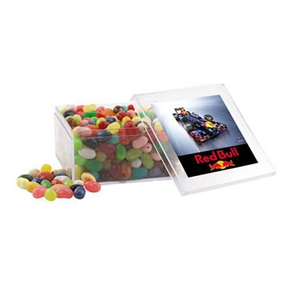 Promotional Large Square Acrylic Case with Jelly Bellies