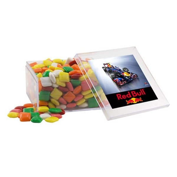 Promotional Large Square Acrylic Case with Mini Chicklets