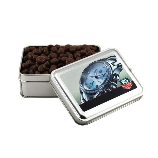 Promotional 5 Rectangle Tin with Chocolate Covered Raisins