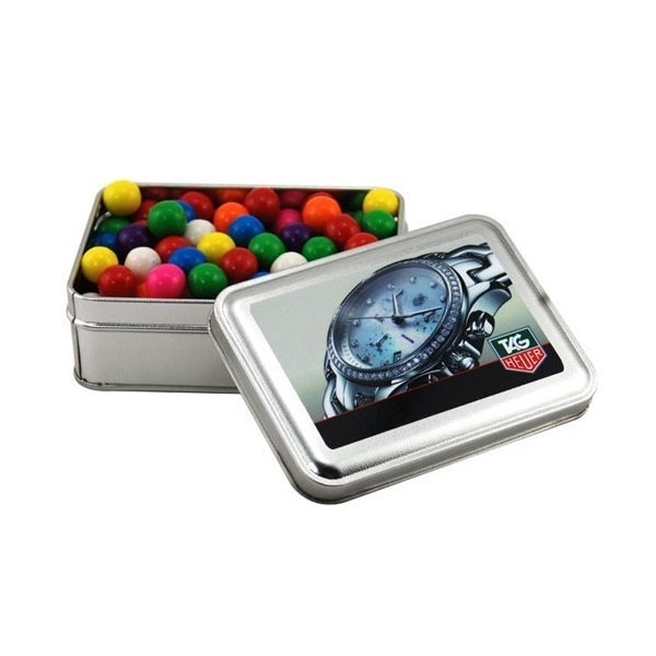 Promotional 5 Rectangle Tin with Gumballs