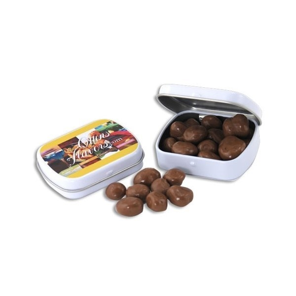 Promotional 2 3/8 Mini Hinged Tin with Chocolate Covered Raisins