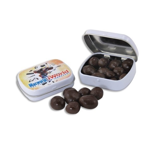 Promotional 2 3/8 Mini Hinged Tin with Chocolate Espresso Beans