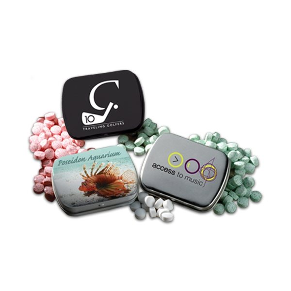 Promotional 2 3/8 Mini Hinged Tin With Mini Mints