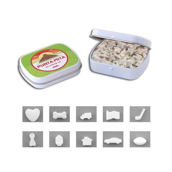 Promotional 2 3/8 Mini Hinged Tin with Shaped Mints
