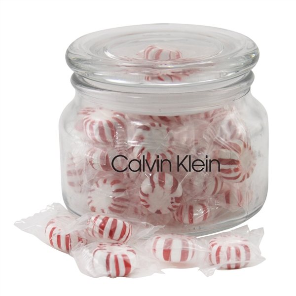 Promotional 3 1/4 Round Glass Jar with Starlight Peppermints