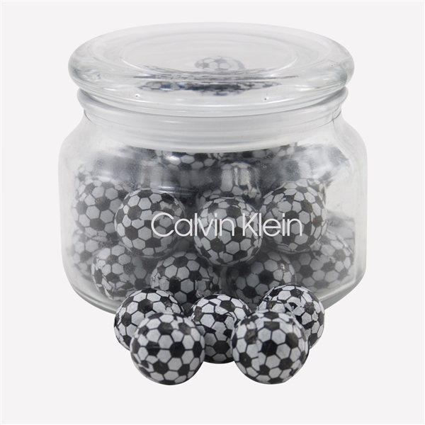 Promotional 3 1/4 Round Glass Jar with Chocolate Soccer Balls