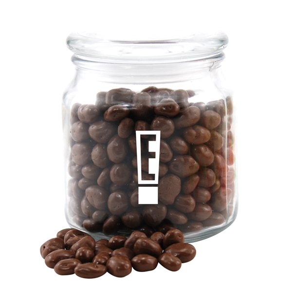 Promotional 3 3/4 Round Glass Jar with Chocolate Covered Raisins