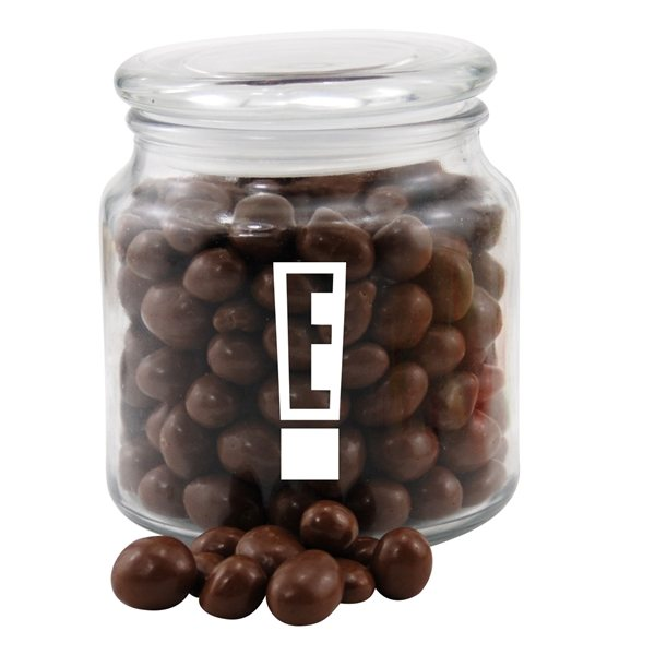 Promotional 3 3/4 Round Glass Jar with Chocolate Covered Peanuts