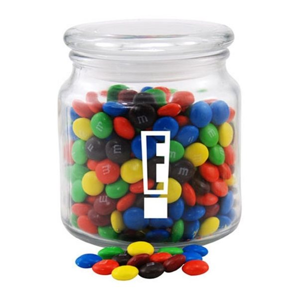 Promotional 3 3/4 Round Glass Jar with MMs