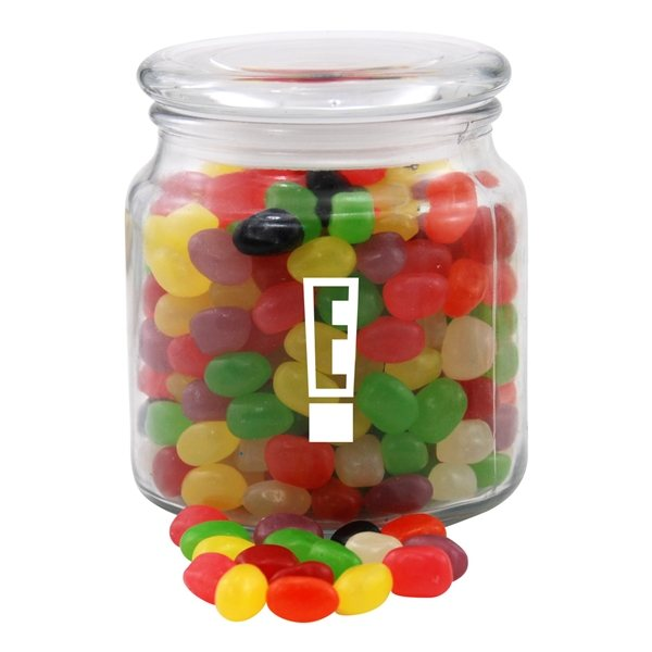 Promotional 3 3/4 Round Glass Jar with Jelly Beans