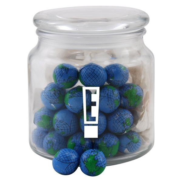 Promotional 3 3/4 Round Glass Jar with Chocolate Globes Earth Balls