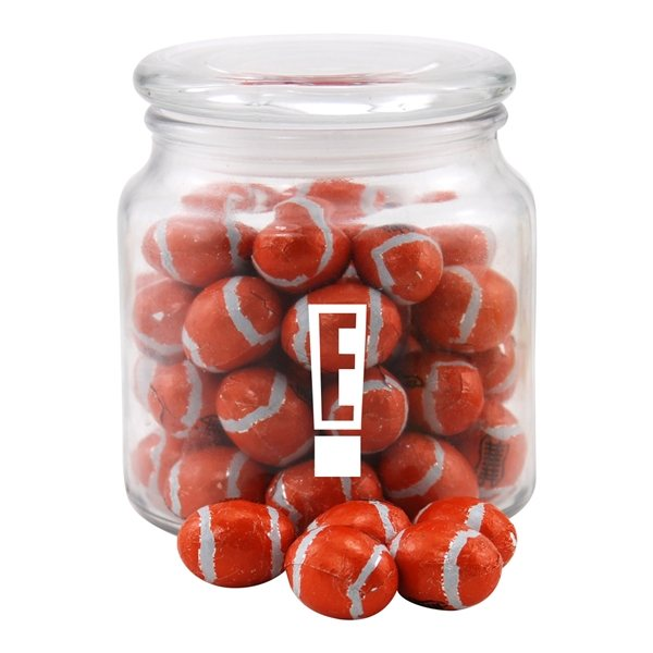 Promotional 3 3/4 Round Glass Jar with Chocolate Footballs