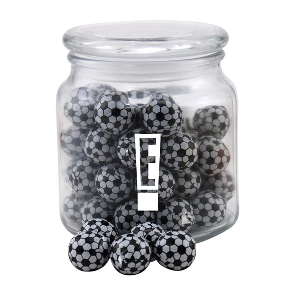 Promotional 3 3/4 Round Glass Jar with Chocolate Soccer Balls