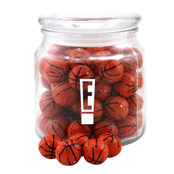 Promotional 3 3/4 Round Glass Jar with Chocolate Basketballs