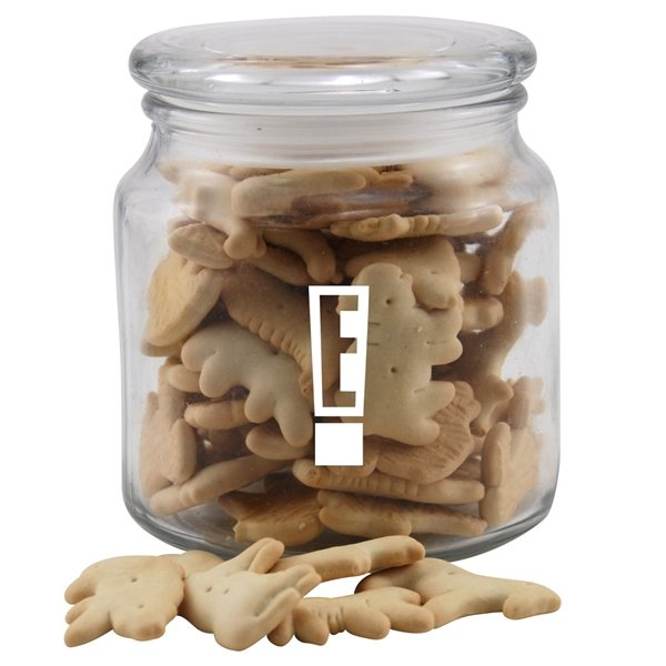 Promotional 3 3/4 Round Glass Jar ith Animal Crackers