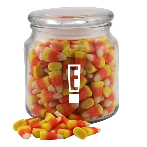 Promotional 3 3/4 Round Glass Jar with Candy Corn
