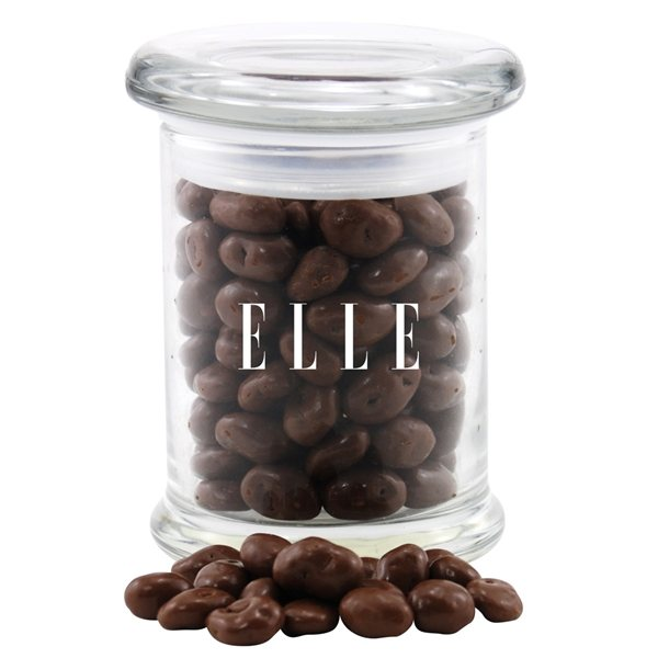Promotional 3 Round Glass 8 oz Jar with Chocolate Covered Raisins