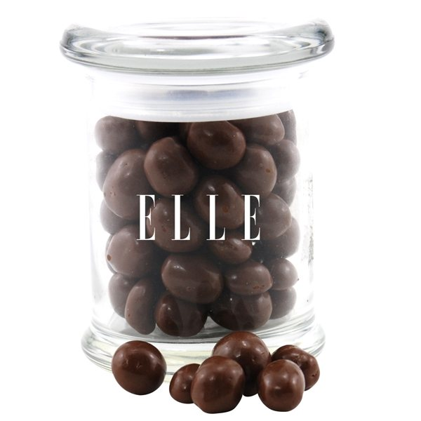 Promotional 3 Round Glass 8 oz Jar with Chocolate Covered Peanuts