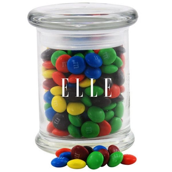 Promotional 3 Round Glass 8 oz Jar with MMs