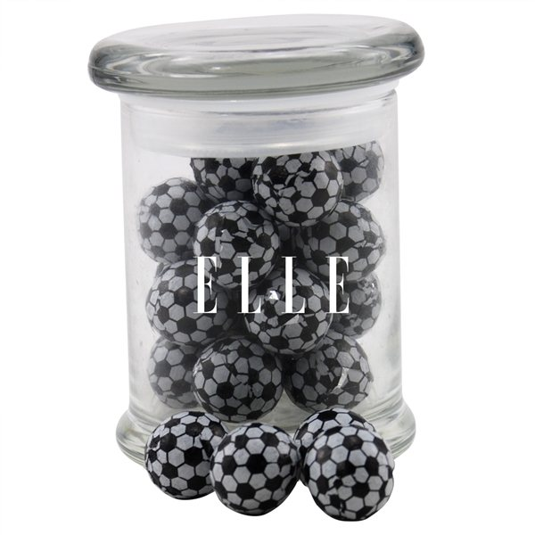 Promotional 3 Round Glass 8 oz Jar with Chocolate Soccer Balls