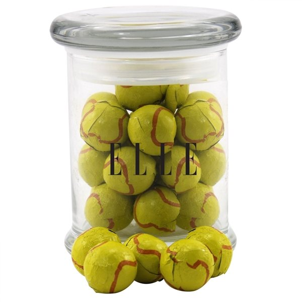 Promotional 3 Round Glass 8 oz Jar with Chocolate Tennis Balls
