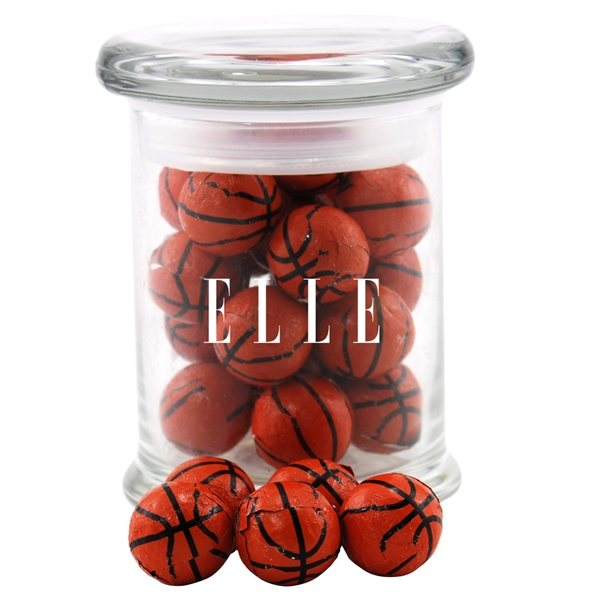 Promotional 3 Round Glass 8 oz Jar with Chocolate Basketballs