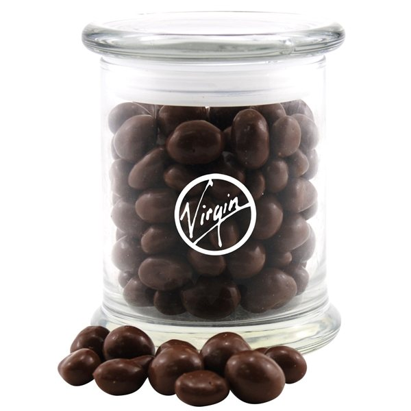 Promotional 3 1/2 Round Glass 12 oz Jar with Chocolate Covered Peanuts
