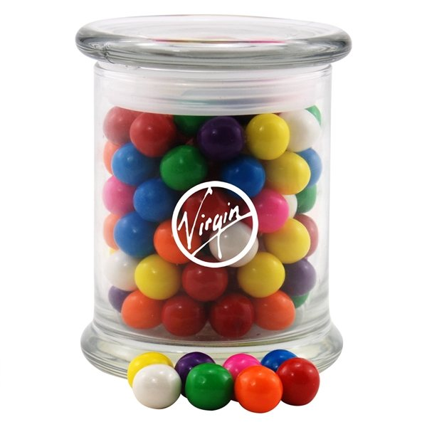 Promotional 3 1/2 Round Glass 12 oz Jar with Gumballs