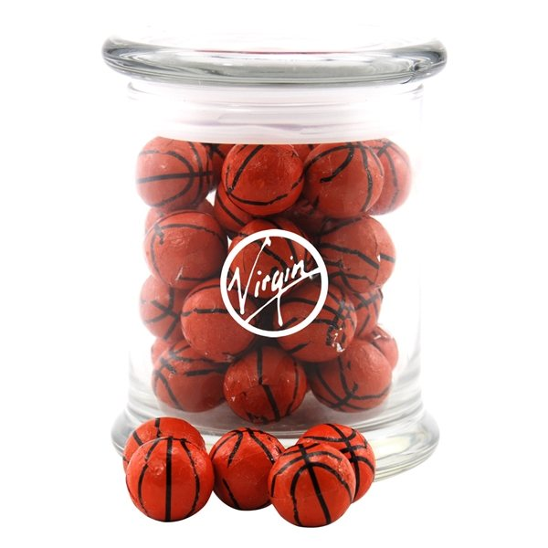 Promotional 3 1/2 Round Glass 12 oz Jar with Chocolate Basketballs