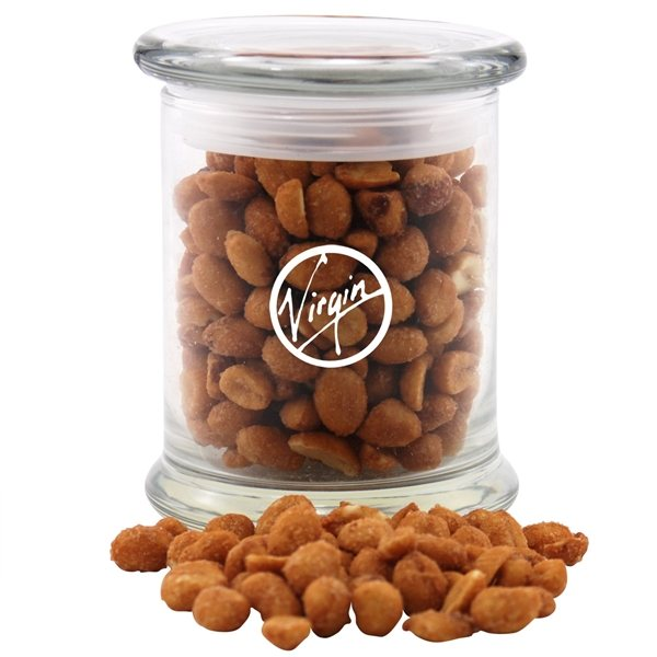Promotional 3 1/2 Round Glass 12 oz Jar with Honey Roasted Peanuts