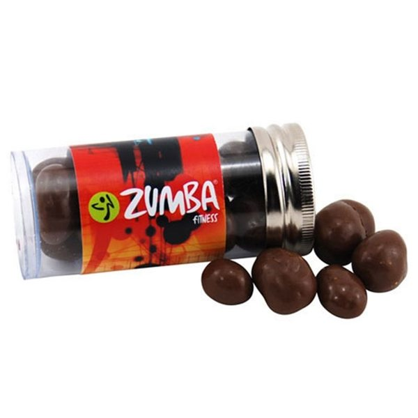Promotional Small Plastic Tube with Chocolate Covered Peanuts