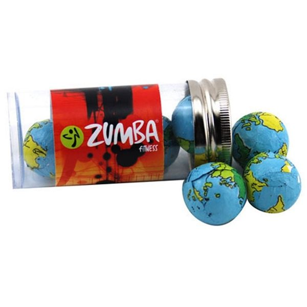 Promotional Small Plastic Tube with Chocolate Globes Earth Balls