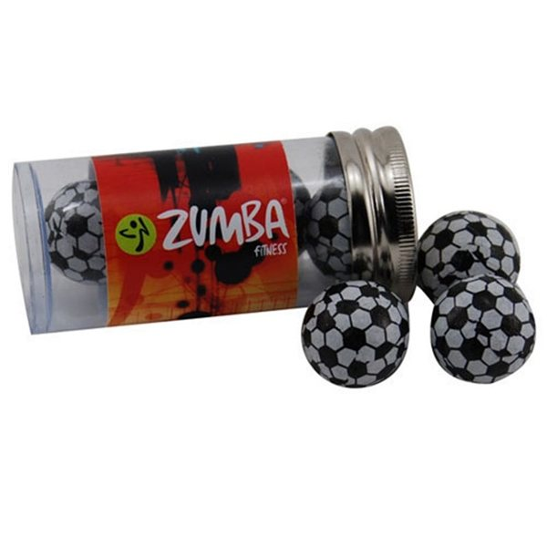 Promotional Small Plastic Tube with Chocolate Soccer Balls